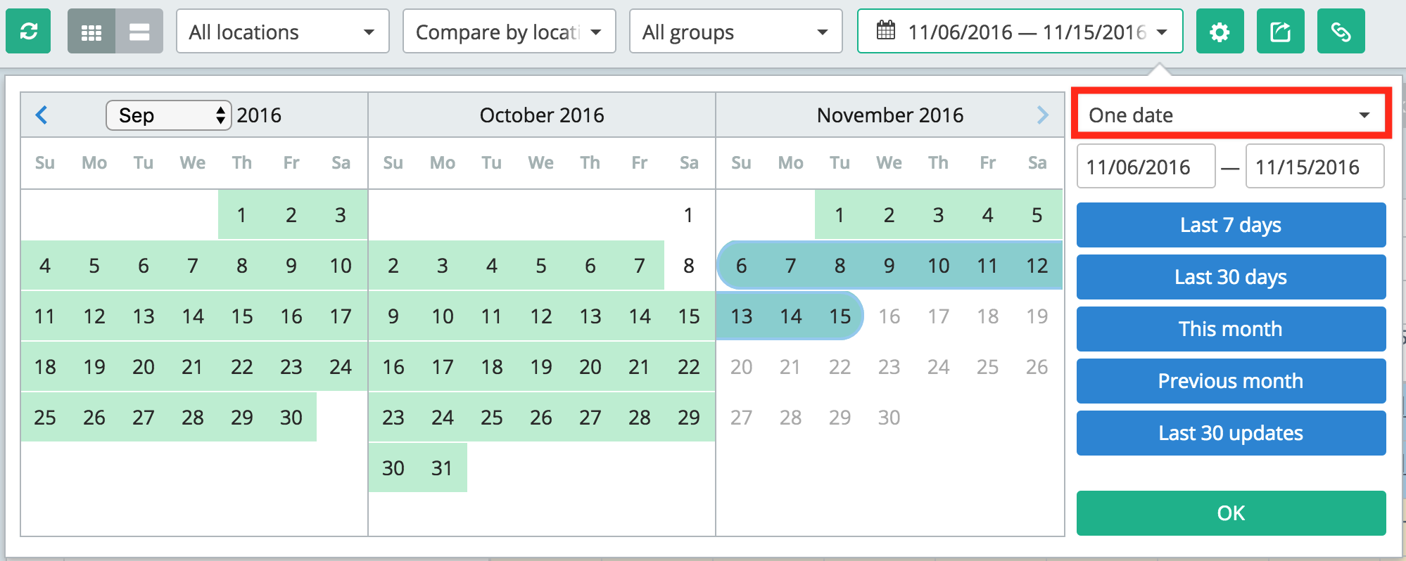 One-date mode picked in the Calendar