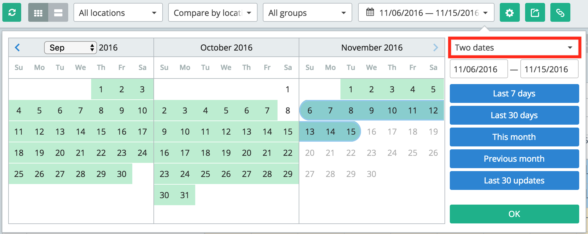 Two-dates mode picked in the Calendar