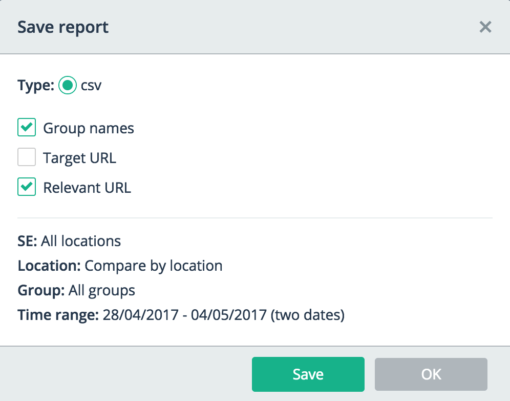 Export to CSV (compare mode)