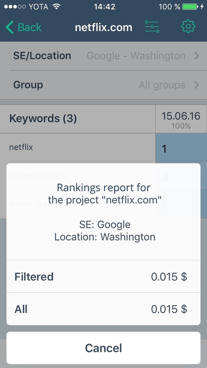 Filtered update of keywords rankings in Topvisor mobile app for iPhone