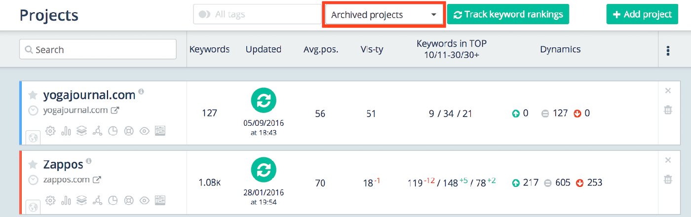 Archived projects on the Projects page