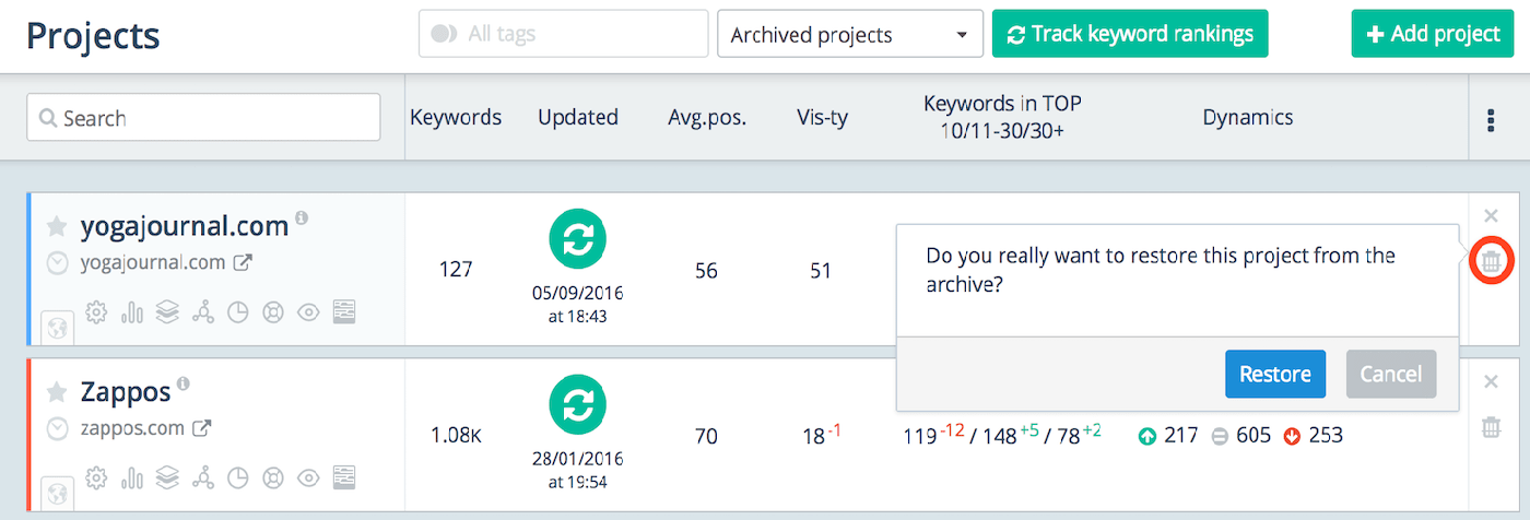 Recover projects from the Archive
