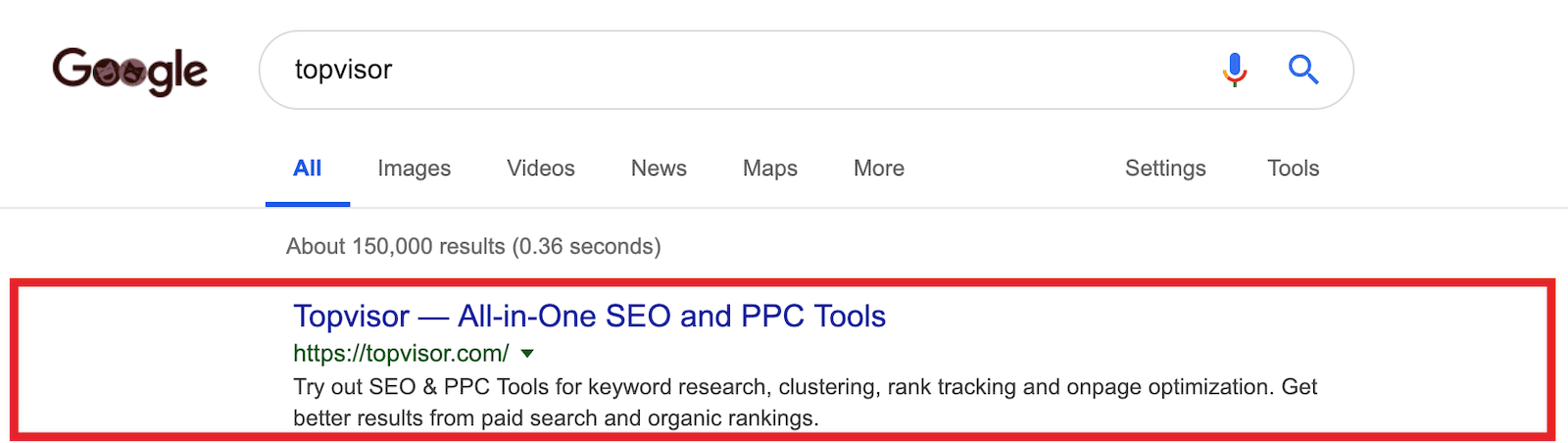 Snippet in search results